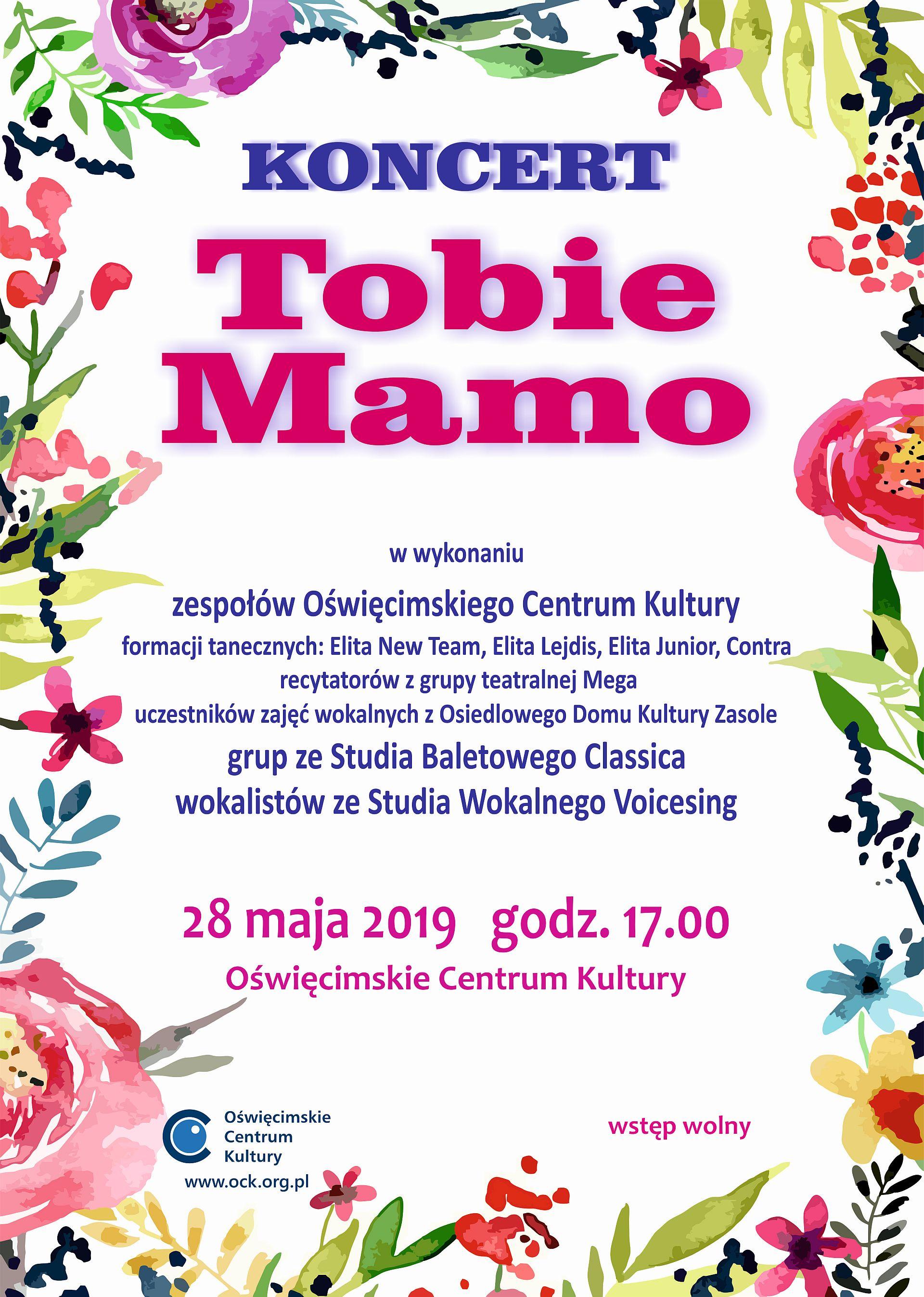 """Koncert ,,Tobie Mamo"""" w Oświęcimskie Centrum Kultury"""