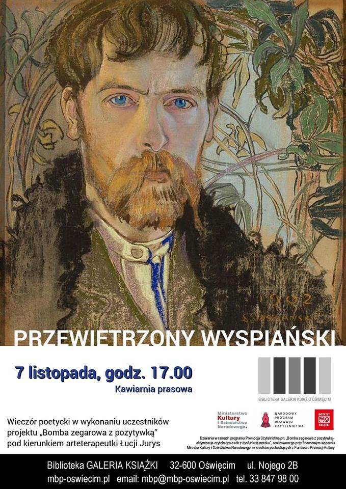 """Wieczór poetycki """"Przewietrzony Wyspiański"""" w MBP w Oświęcimiu"""